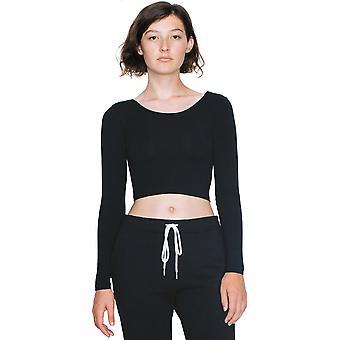 الملابس الأمريكية النسائية/السيدات الأكمام الطويلة القطن دنه المحاصيل الأعلى