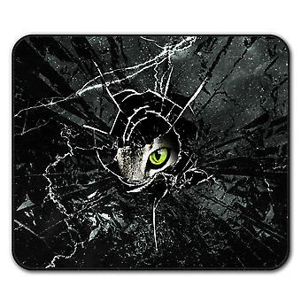 Glass Animal Angry Cat  Non-Slip Mouse Mat Pad 24cm x 20cm | Wellcoda