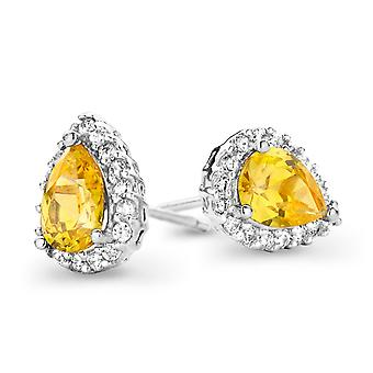 Orphelia Silver 925 Earring Drop Citrin kleur zirkonium ZO-7226/CIT