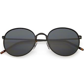 Modern  Full Metal Round Sunglasses Neutral Colored Flat Lens 51mm