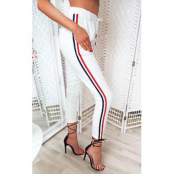 IKRUSH Womens Felicity Striped Tie Tailored Trousers