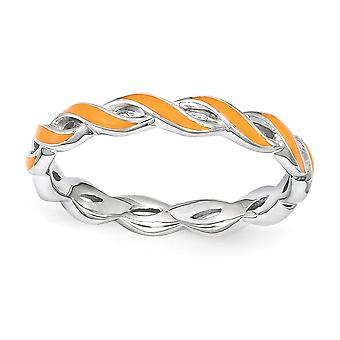 2mm 925 Sterling Silver Polished Stackable Expressions Orange Enamel Ring Jewelry Gifts for Women - Ring Size: 5 to 10