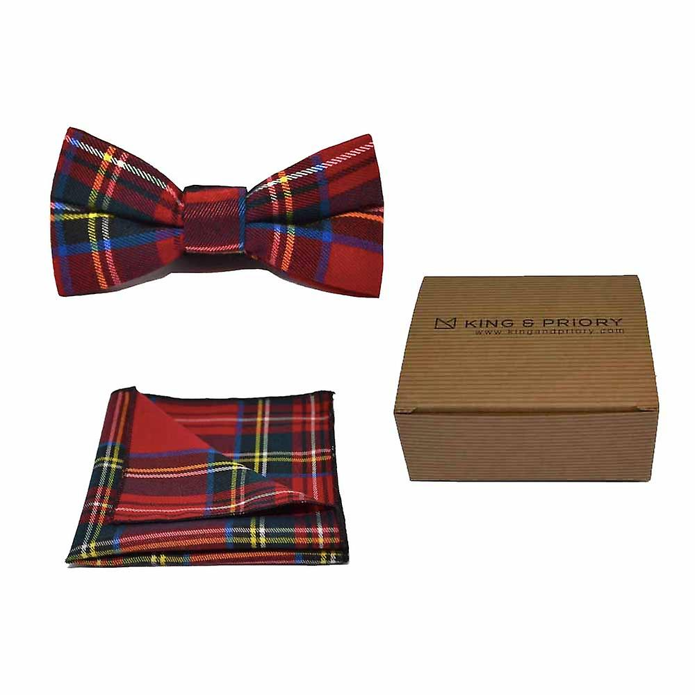 Traditional Red & Yellow Tartan Check Bow Tie & Pocket Square Set - Tweed, Plaid Country Look | Boxed