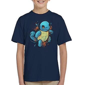 Pokemon Schiggy handgezeichneten Kunst Kinder T-Shirt