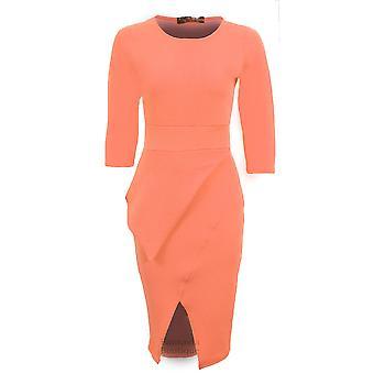 Ladies 3/4 Sleeve Office Party Textured Bodycon Women's Half Peplum Dress