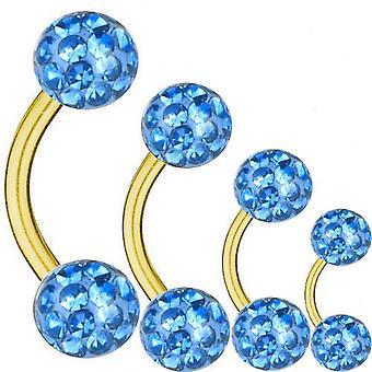 Placcato oro Barbell curvo titanio 1,6 mm, Multi sfera di cristallo azzurro | 6-16