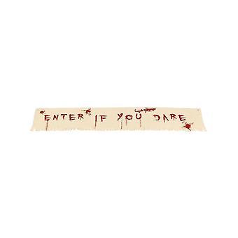 Angiv hvis du tør blodige Banner dekoration, naturlige & rød, klud, 180x35cm / 71inchx14inch