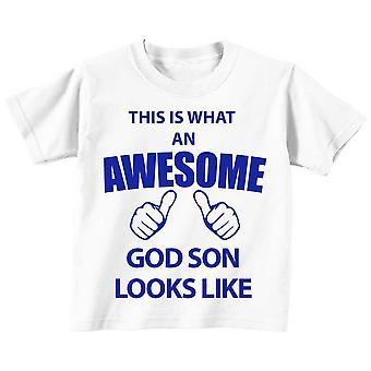 これは何の素晴らしい神の息子に見えるような白 t シャツ青色のテキストです。