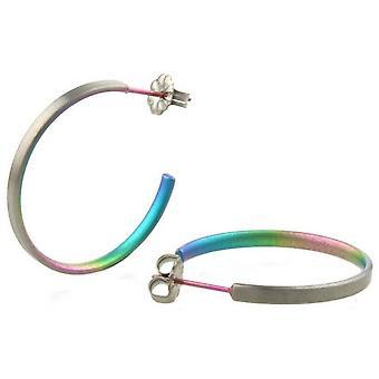 Orecchini a cerchio medio TI2 titanio - arcobaleno