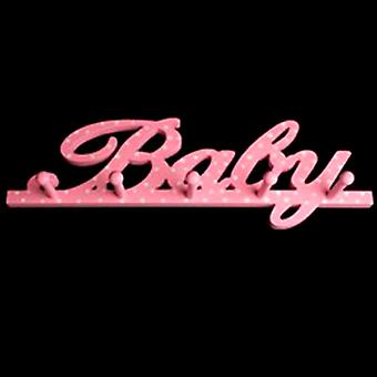Bebé - pared montada 5 estante colgante del Peg / escudo ganchos - rosa
