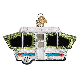 Old World Christmas Pop Up Tent Camper Holiday Ornament Blown Glass
