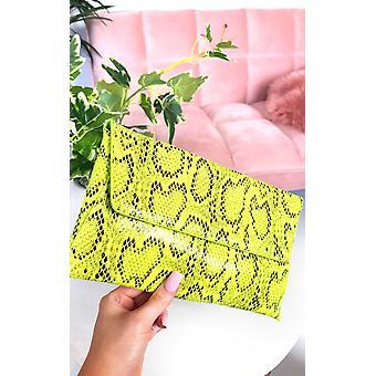 IKRUSH Womens Melinda Snake Print Envelope Clutch Bag