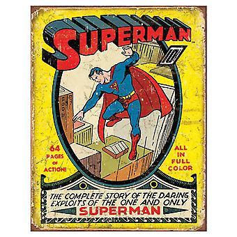 Superman Comic rétro signe d'étain