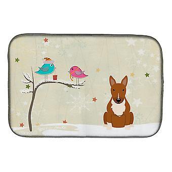 Christmas Presents mellom Friends Bull Terrier rød parabolen tørking mat