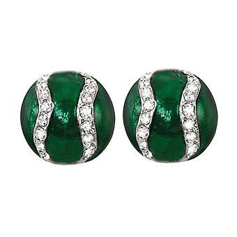Eternal Collection Class Emerald Enamel & Diamante Stud Clip On Earrings