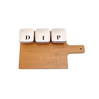 Loft Dip Dishes & Wooden Board Set