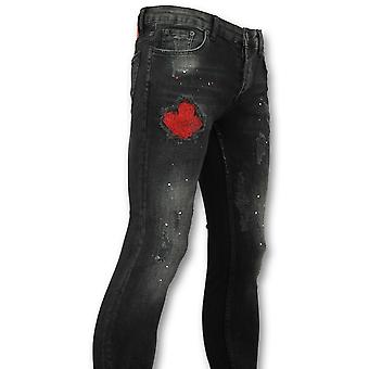 Jeans with paint splashes men-men in skinny jeans-058-Black