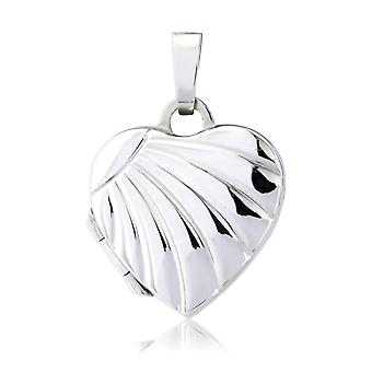 Jewelco London Ladies 9ct White Gold Rayed Love Heart Shaped embossed Locket 14 x 14mm