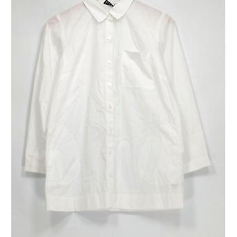 Joan Rivers Top XXS Chemise à manches longues Boyfriend avec poches blanches A279622