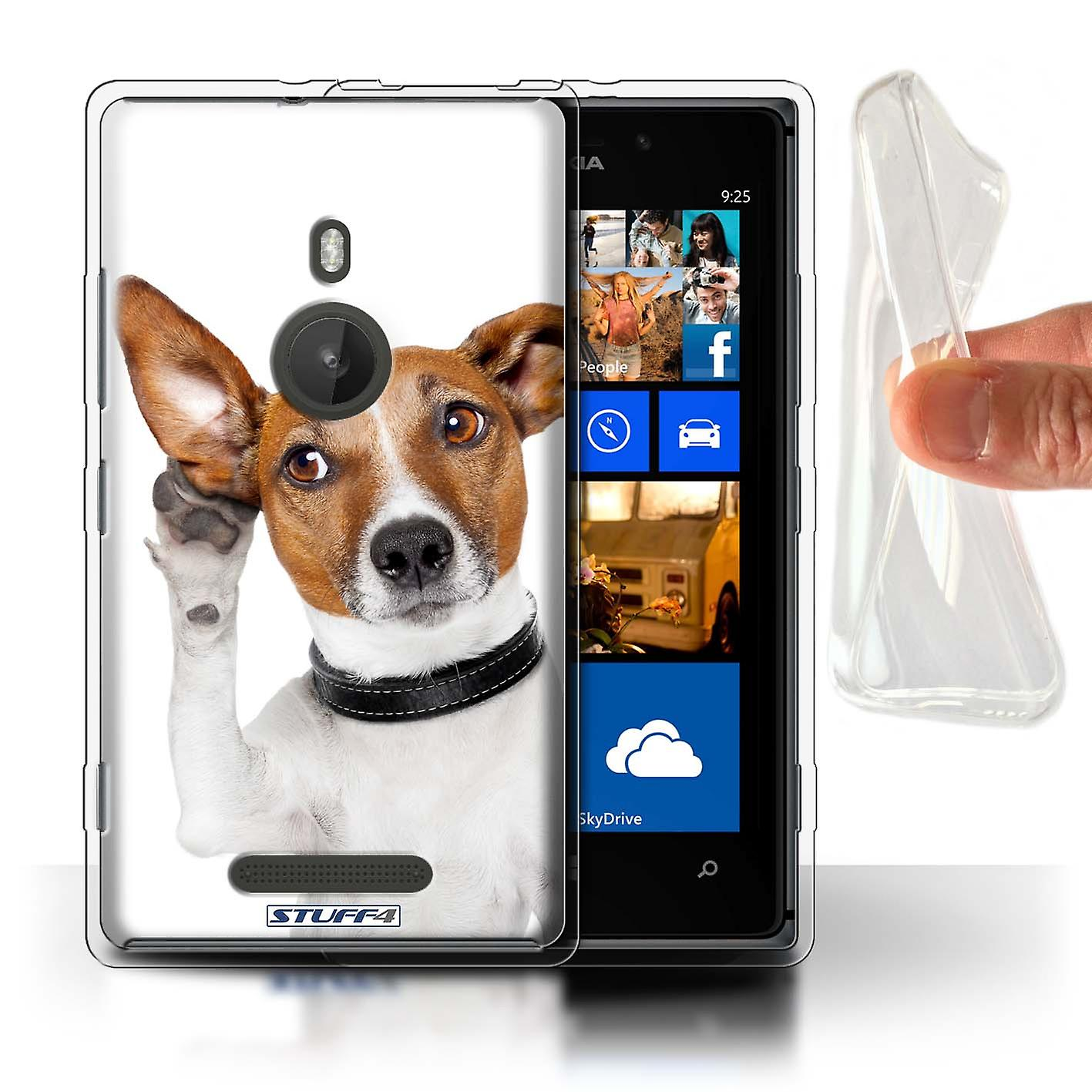 STUFF4 Gel TPU Case/Cover for Nokia Lumia 925/Listening Dog/Funny Animals