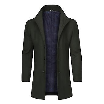 Allthemen Men's Slim Fit Single-Breasted 3-Buttons Mid-Long Wool Blend Overcoat