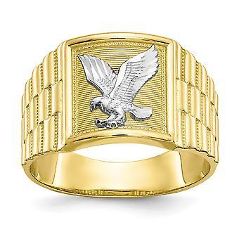 Erkekler için 10k Sarı Altın Dokulu Cilalı ve Rodyum Mens Kartal Yüzük Takı Hediyeler - 4.7 Gram
