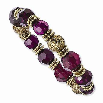 Gold tone Purple Crystal Stretch Bracelet Jewelry Gifts for Women