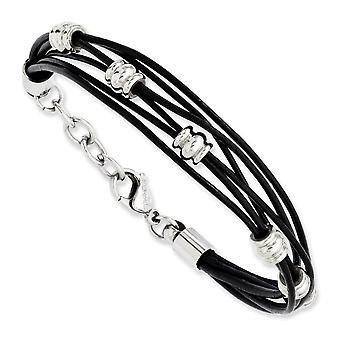 Stainless Steel Fancy Lobster Closure Zwart Leer en gepolijste kralen 7.5inch met Ext Bracelet Sieraden Geschenken voor vrouwen