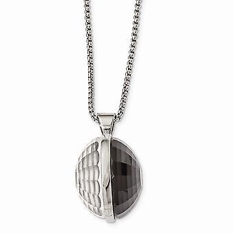 Edelstahl Fancy Hummer Verschluss poliert grau und klar Glas Runde Anhänger Halskette 24 Zoll Schmuck Geschenke für Wom