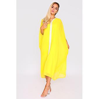 Kaftan cassandra short sheer sleeve midi knee-length dress and belt in yellow