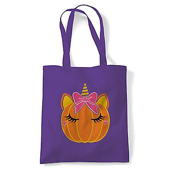 Unicorn Pumpkin Bow Tote | Halloween Fancy Dress Costume Trick Or Treat | Reusable Shopping Cotton Canvas Long Handled Natural Shopper Eco-Friendly Fashion
