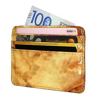 TOP Card holder slimmed ID-pocket wallet Marble Brown