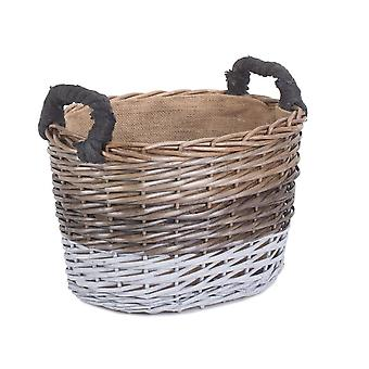 Large Oval Triple Tone Chunky Wicker Lined Storage Basket