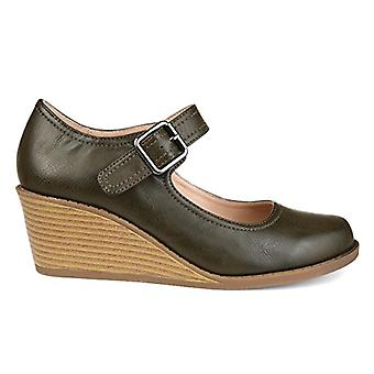 Brinley Co. Womens Rahil Comfort-Sole Mary Jane Faux Leather Wedges
