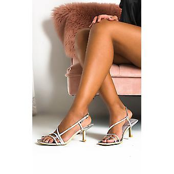 IKRUSH Womens Tara Strappy Kitten Heels