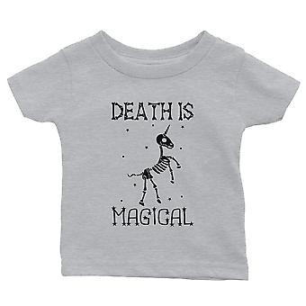 Śmierć jest Megical Jednorożec Skeleton Funny Halloween Baby Gift Tee Grey