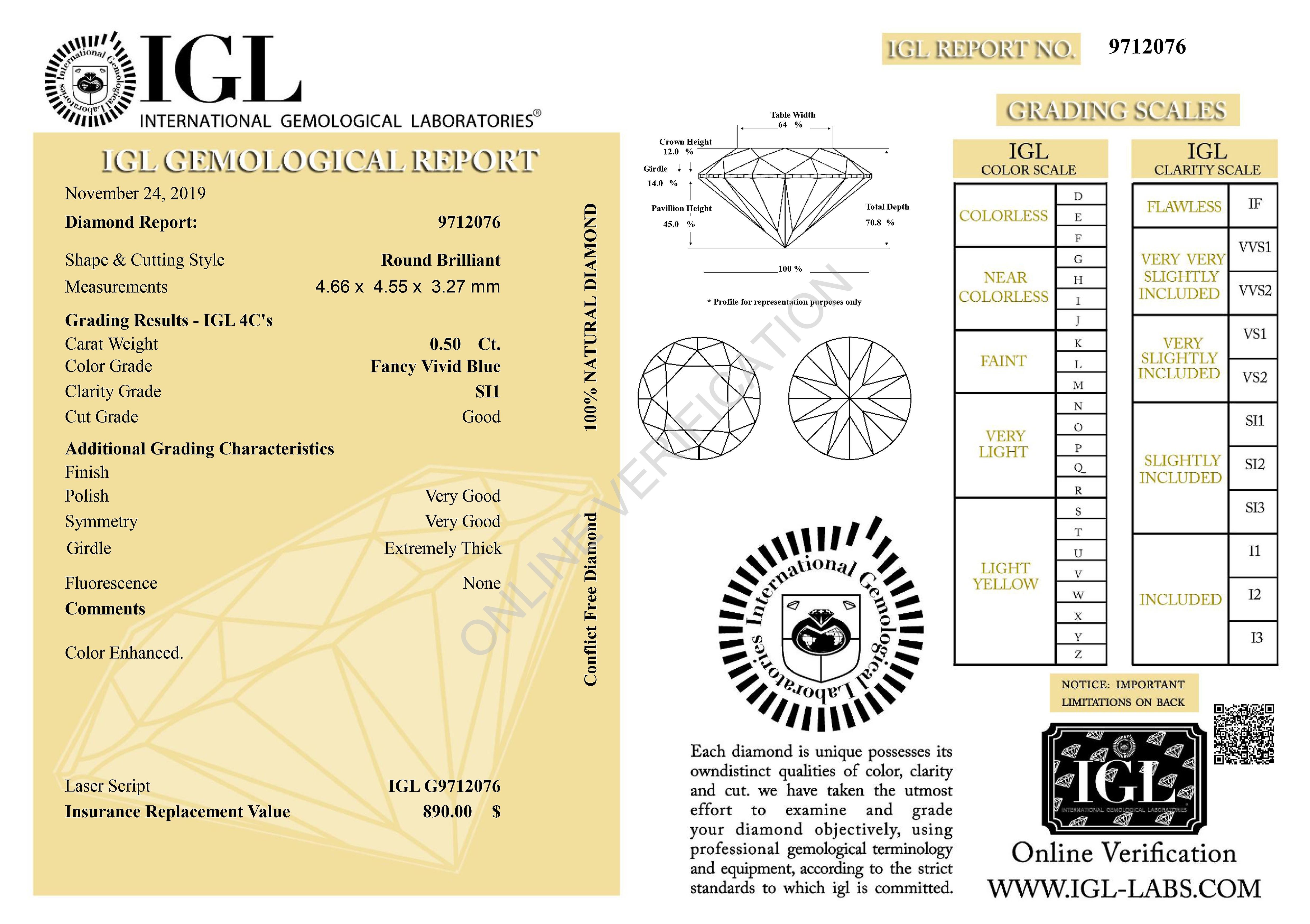 Cert 0.50 Carat Vivid Blue SI1 Round Brilliant Enhanced Natural Diamond 4.66mm
