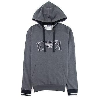 Emporio Armani Front Pocket Hooded Sweatshirt Dark Grey Melange