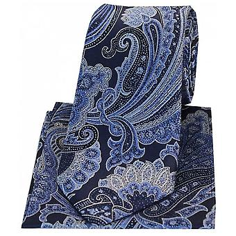Posh and Dandy Large Edwardian Paisley Silk Tie and Hanky Set - Navy Blue