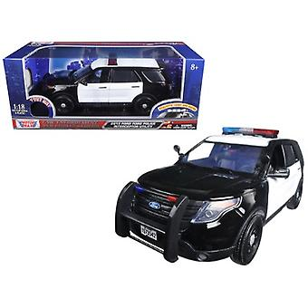 2015 Ford Police Interceptor Utility Black and White with Flashing Light Bar, Front and Rear Lights and 2 Sounds 1/18 Diecast Model Car par Motormax