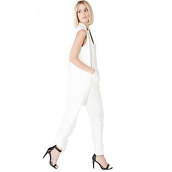 Lavish Alice Off-White Waistcoat-Style Fitted Jumpsuit