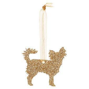 Gold Chihuahua Style 2 Glitter  Christmas Decoration