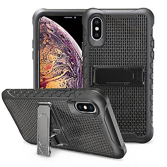 Black Honeycomb For iPhone XS MAX Case,Armour Phone Cover,KickStand