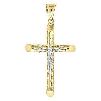 10kゴールドツートーンDcメンズクロス十字架の高さ61.6ミリメートルX幅34mm宗教的な魅力ペンダントネックレスジュエリーギフトのためのM