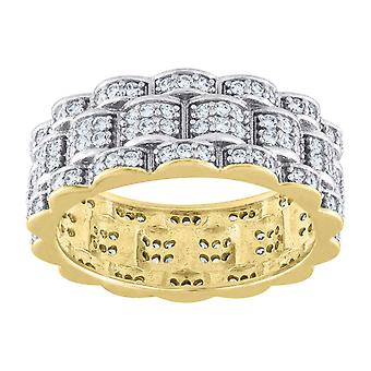 925 Sterling Silver Mens Two tone CZ Cubic Zirconia Simulated Diamond Presidential Eternity Ring Band Jewelry Gifts for