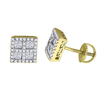 925 Sterling Silver Mens Yellow tone CZ Princess Cut Square Stud Earrings Measures 8.2x8.2mm Wide Jewelry Gifts for Men