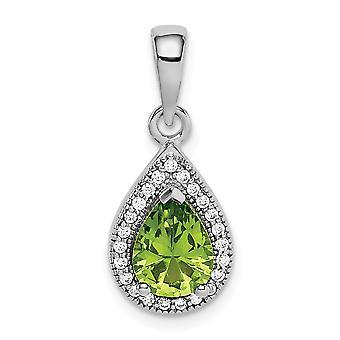 925 εξαιρετικό ασημένιο ρόδιο επιμεταλλωμένα πράσινο και σαφή CZ κυβικά Zirconia προσομοιωμένα Diamond κρεμαστό κόσμημα κολιέ κοσμήματα Fo