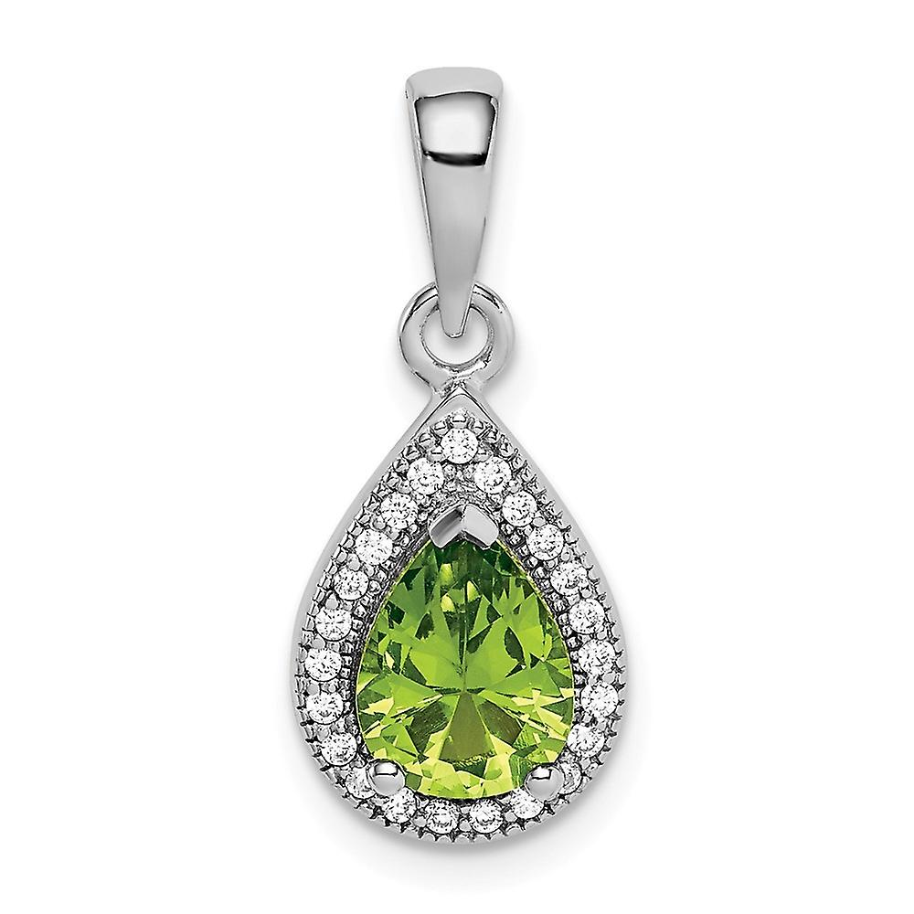 925 Sterling Silver Polished Green CZ Cubic Zirconia Simulated Diamond Pendant Necklace Jewelry Gifts for Women