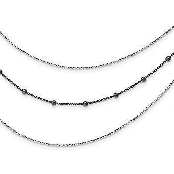 925 Sterling Argent Poli Ruthenium plaqué 3 brin Necklace 16 Pouces Bijoux Cadeaux pour les femmes