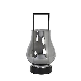 Light & Living Table Lamp 23.5x48cm Amanda Glass Smoke Grey And Matt Black